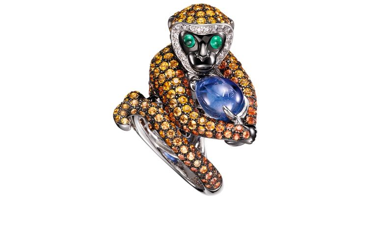 BOUCHERON. Bubu ring. White gold, one ruby, orange and yellow sapphires, brown and white diamonds with two emeralds. Price from £29,300