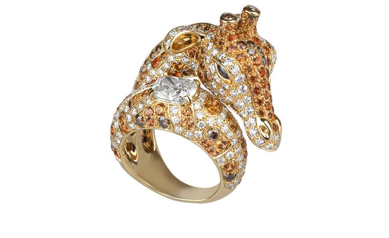 BOUCHERON. Giraffe ring. Yellow gold with white, brown and orange diamonds, orange and blue sapphires. Price from £48,100.