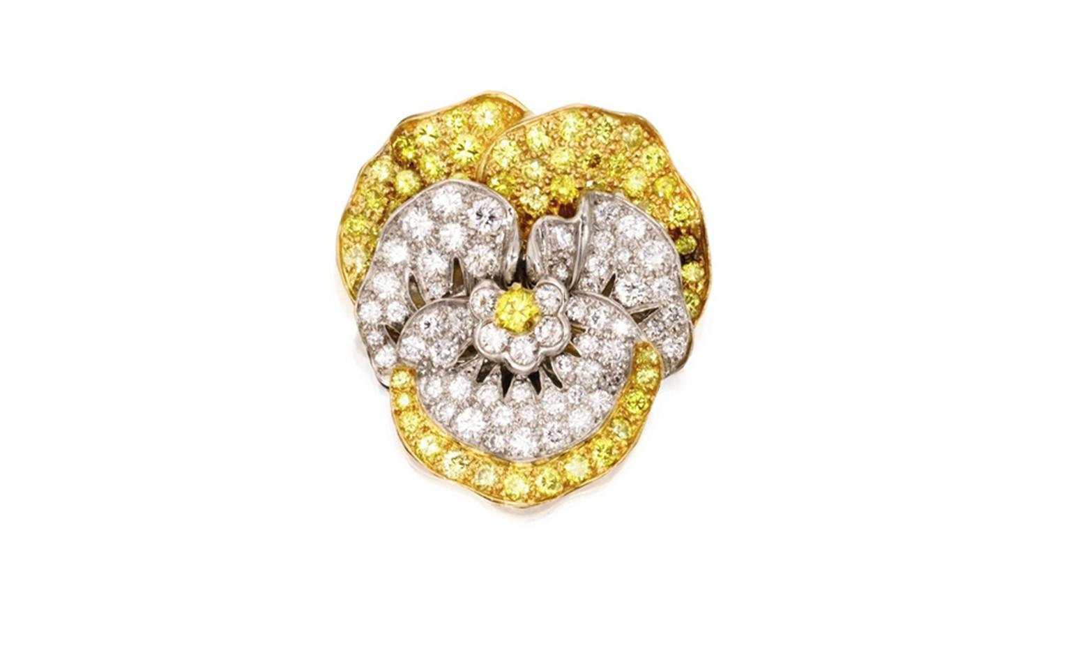 Lot 279. Gold, platinum diamond and colorad diamond pansy brooch. Est. $10/15,000