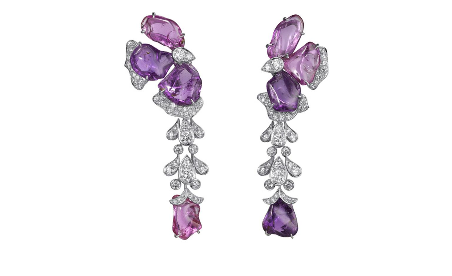 Sortilège de Cartier white earrings with pink and purple sapphires and diamonds.