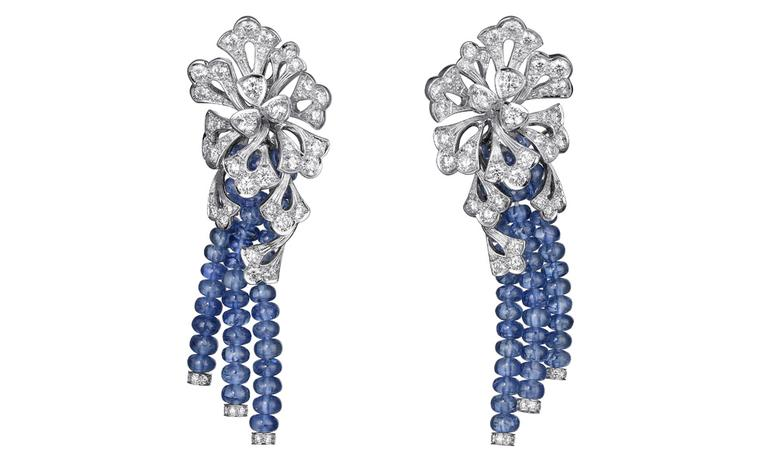 Sortilège de Cartier collection earrings in platinum with sapphire beads and diamonds.