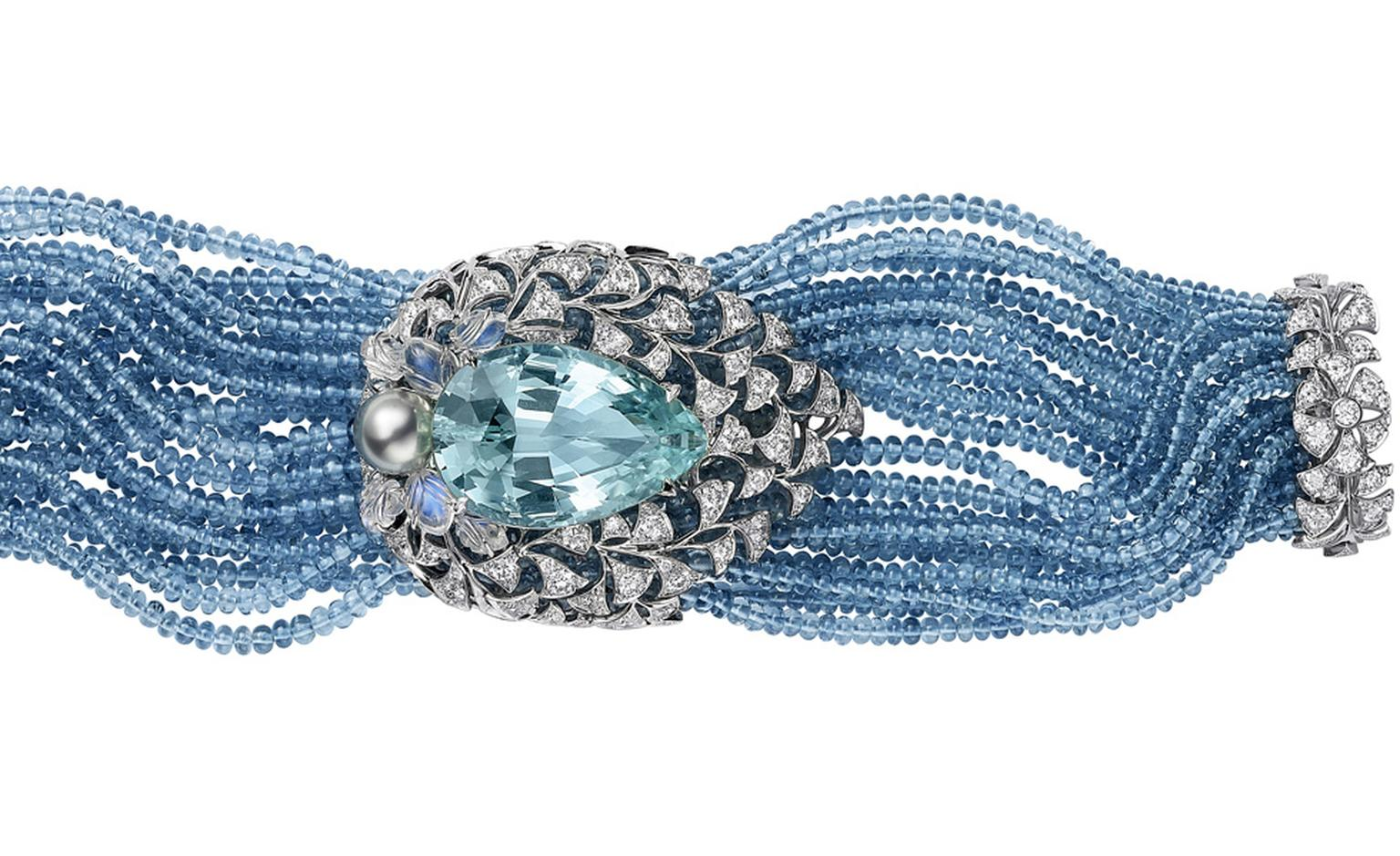 Sortilège de Cartier collection bracelet in platinum with pear-shaped aquamarine, aquamrarine beads, engraved moonstones, one Tahitian pearl and brilliant-cut diamonds