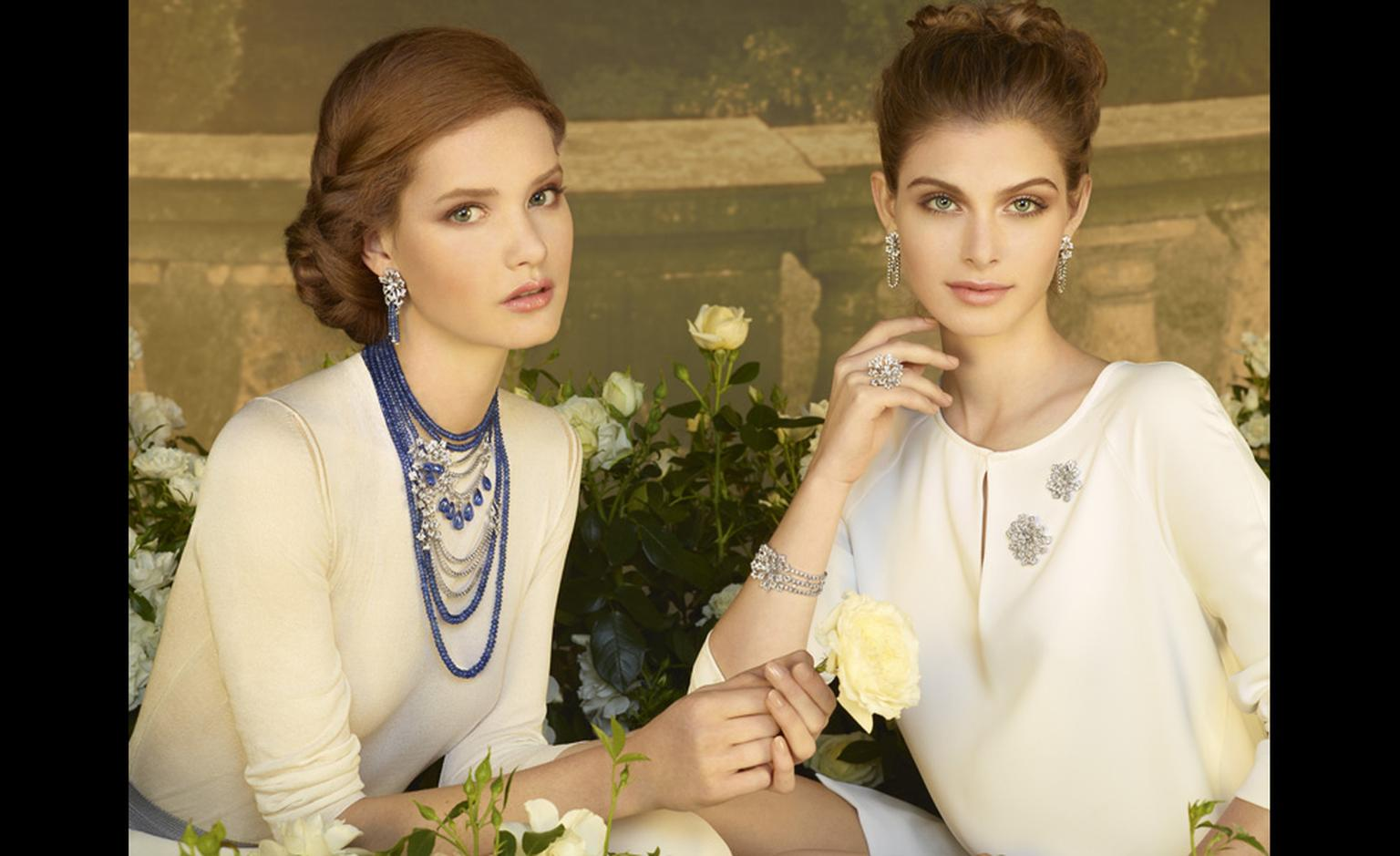 Models wearing Sortilège de Cartier including a dramatic, multi-strand sapphire and diamond necklace.