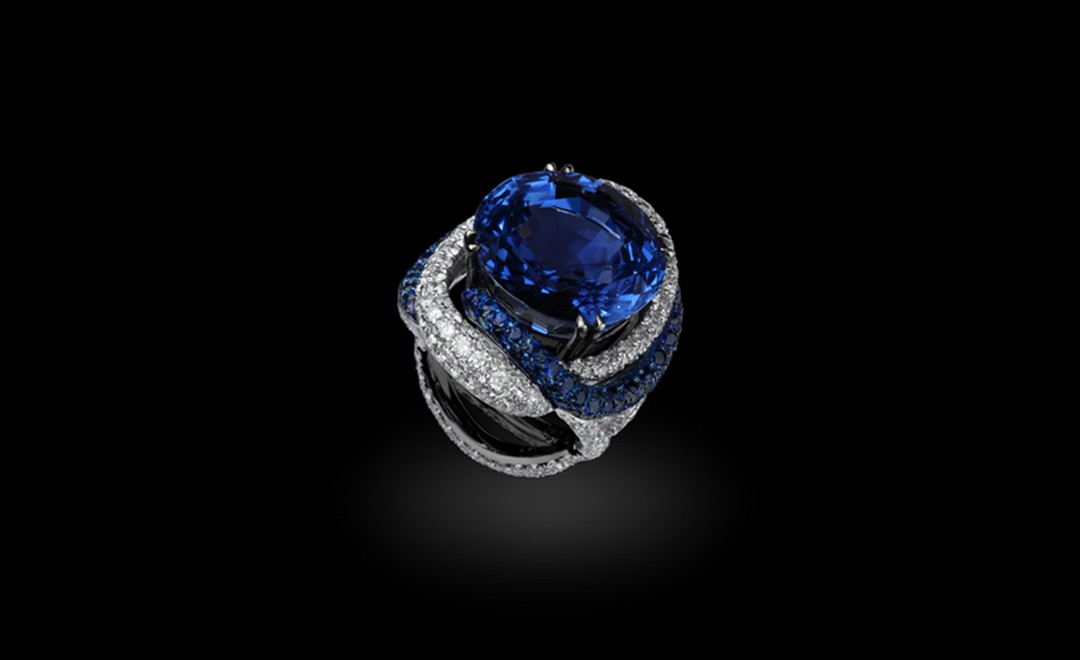 Michelle Ong. 'Bejewelled Nile'. Natural Blue Sapphire and White Diamond Ring in  White Gold and Titanium. POA
