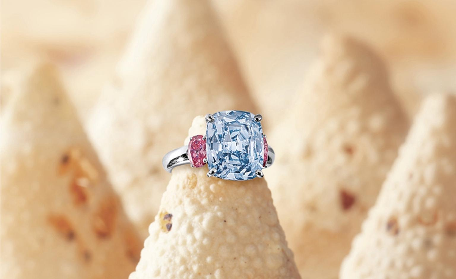 LOT 2851. Rare and important fancy vivid blue diamond and pink diamond ring. EST 70,000,000 - 85,000,000 HKD OLD 79,060,000 HKD