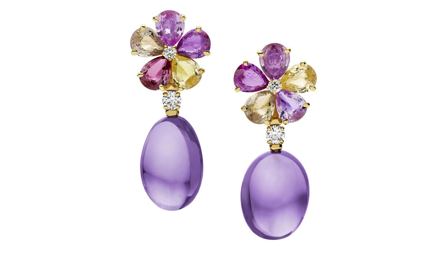 Bulgari.  Mediterranean Eden yellow gold earrings mounting fancy sapphires, amethysts, diamonds and pavé diamonds. Price from £16.700,00