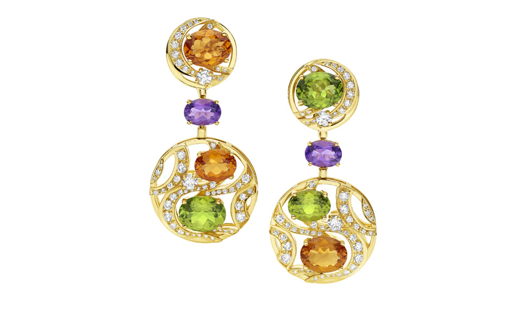 Bulgari. Mediterranean Eden yellow gold earrings with citrine quartzes, peridots, amethysts, diamonds and pavé diamonds. Price from £12.300,00