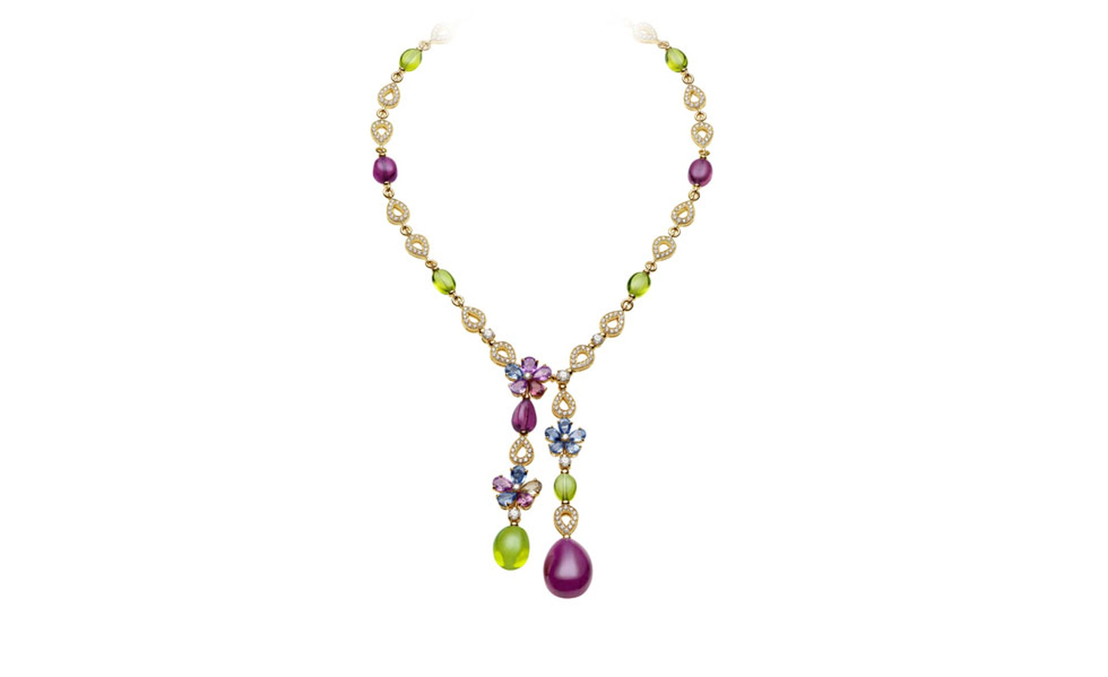 Bulgari. Mediterranean Eden yellow gold necklace mounting fancy sapphires peridots, rubellites, diamonds and pavé diamonds. Price from £39.600,00