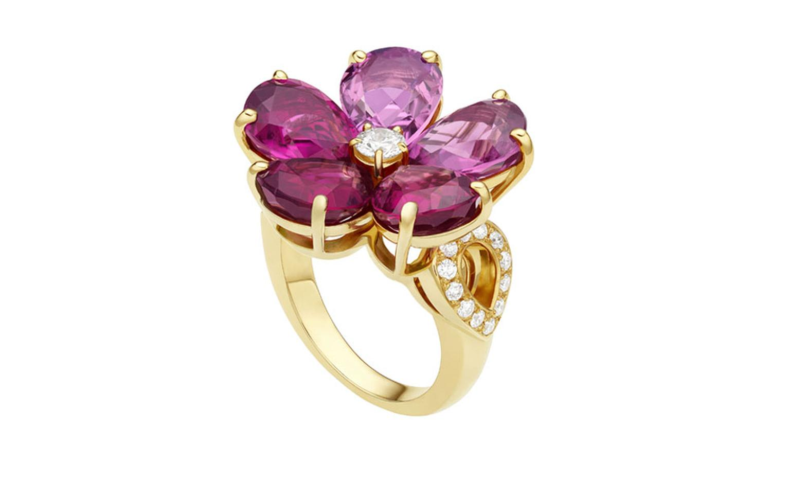 Bulgari. Mediterranean Eden yellow gold ring set with pink tourmalines, rubellites, and pavé diamonds. Price from £13.200,00