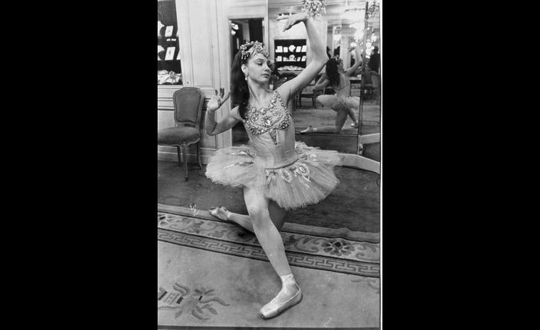 Suzanne Farrell the main dancer in the 'Diamonds'  dance by George Balanchine at Van Cleef & Arpels Place Vendome boutique 1976.