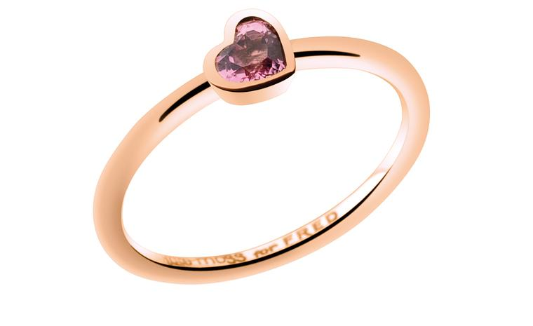 Kate Moss for FRED Collection. Pink gold Heart ring with rubellite. Price from 550 €