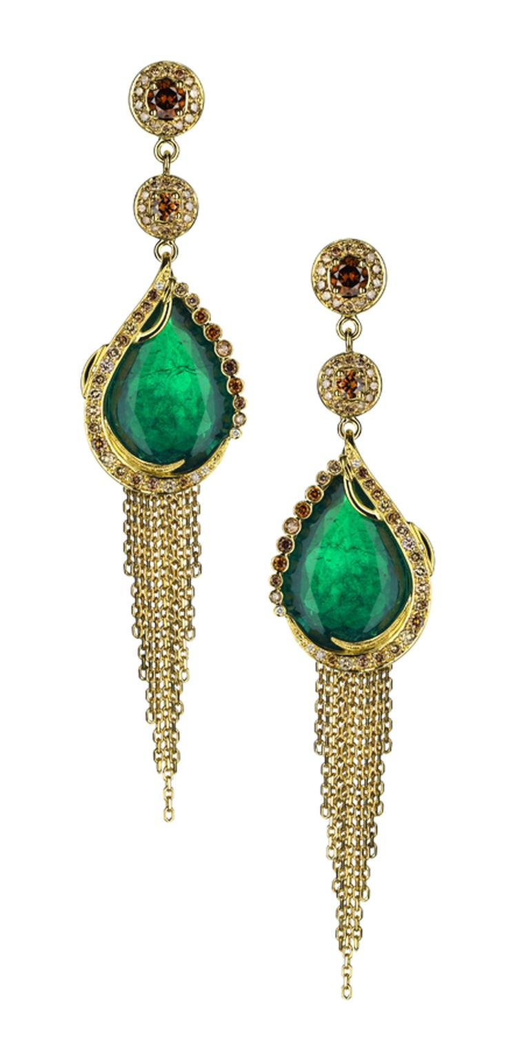 Ana de Costa. Gandhi earrings in 18ct yellow gold, pave set with natural cognac diamonds. Ethically mined Gemfields Zambian emeralds. Price from £100,000.