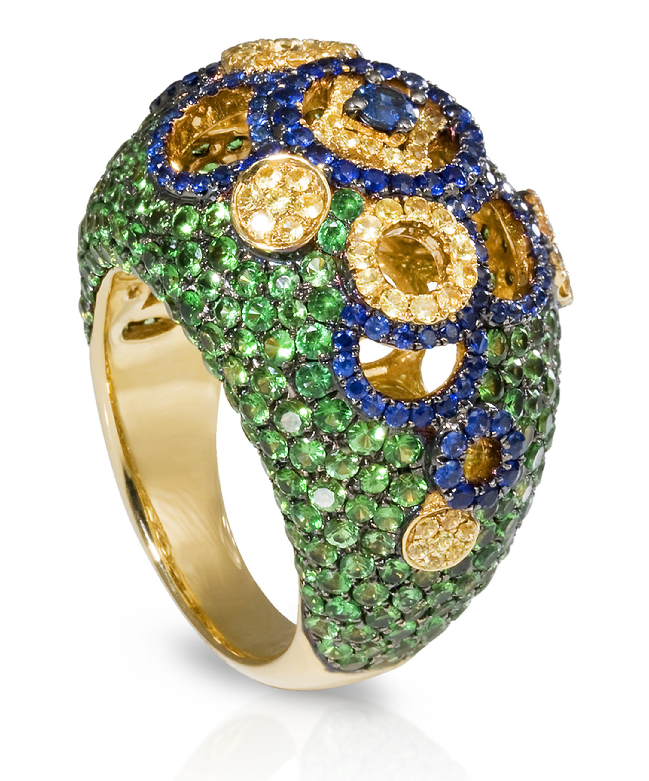 SHO Fine Jewellery. Coin Boule Ring in 18ct Yellow Gold with Blue and Yellow Sapphires and Green Tsavorites. £4770