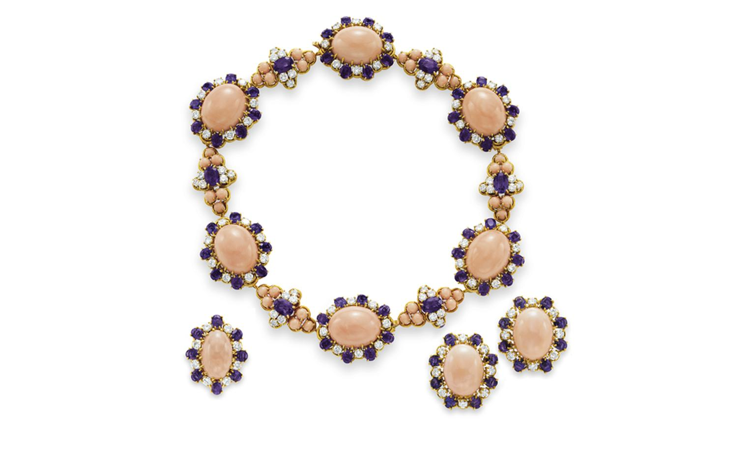 Van Cleef & Arpels. Dodecanese Coral, Amethyst, Diamond and Yellow Gold Choker, Ear clips and Ring (1970). © Christie's Images 2011. POA.