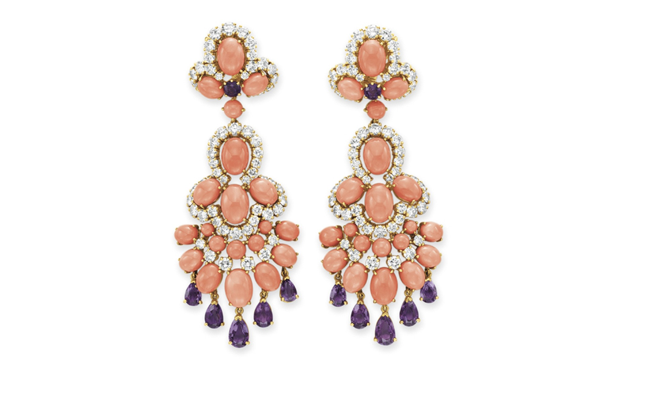 Van Cleef & Arpels. Panka Coral, Amethyst, Diamond, Platinum and Yellow Gold Ear Pendants (1971). © Christie's Images 2011. POA.