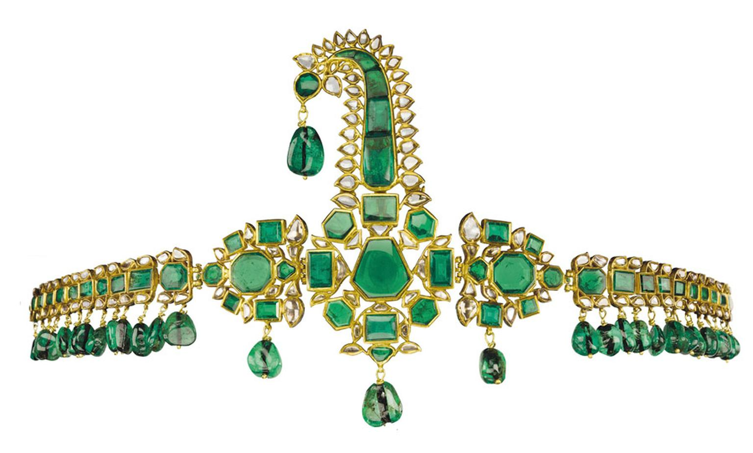 Christies-Lot-369-ANTIQUE-INDIAN-EMERALD-DIAMOND-AND-ENAMEL-SARPECH