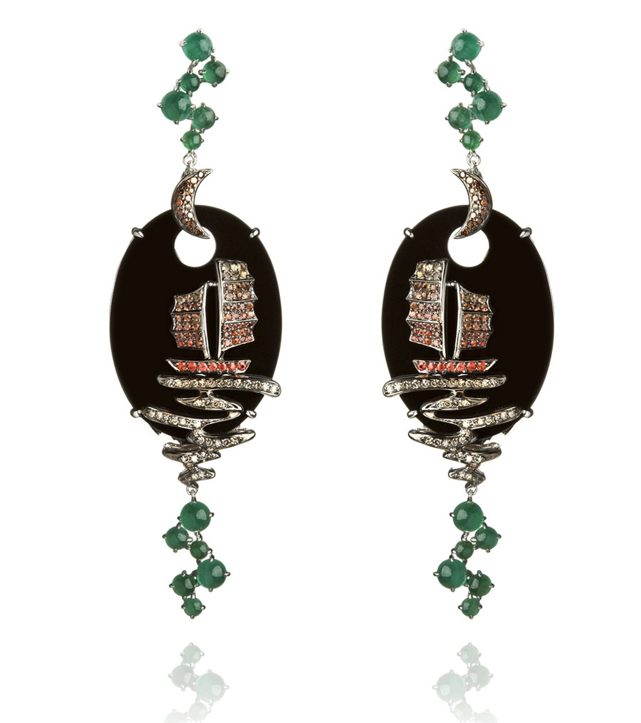 Wendy-Yue-Fantasie-18ct-white-gold--diamond-sapphire-and-emerald-Night-Ship-earrings-By-Wendy-Yue-for--Annnoushka