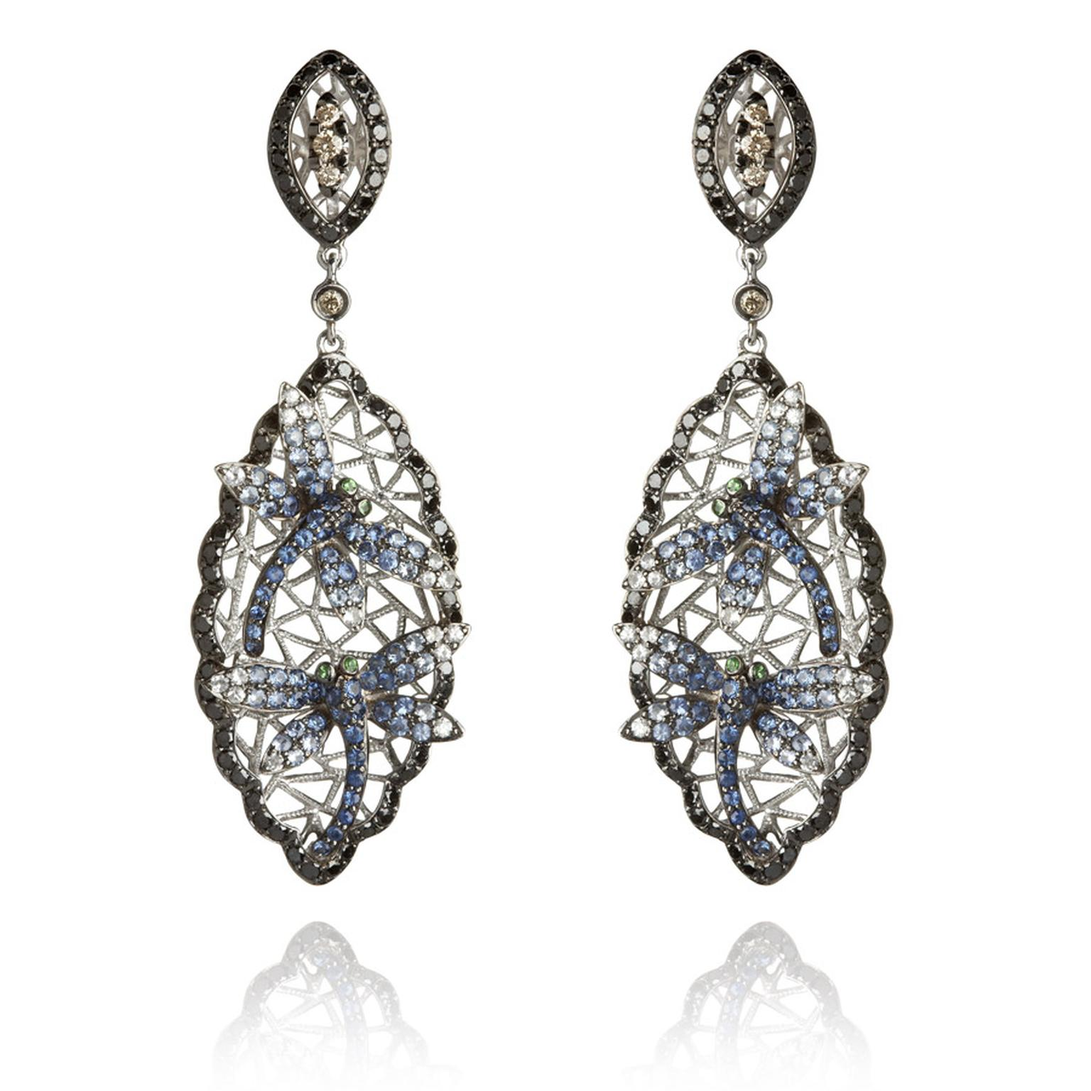 Wendy-Yue-Fantasie-18ct-white-gold--diamond-sapphire-and-garnet-Diving-Dragonfly-earrings-By-Wendy-Yue-for--Annoushka