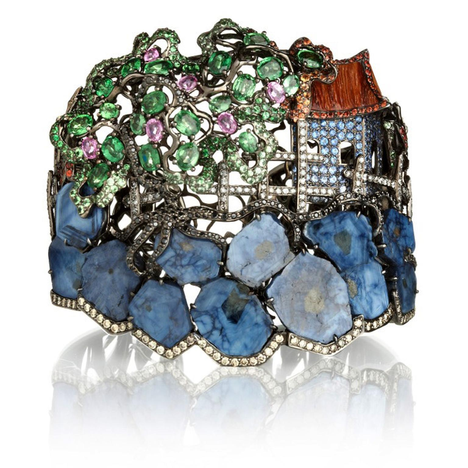 Wendy-Yue-Fantasie-18ct-white-gold--diamondsapphires-and-green-garnet-Madagascar-Retreat-bangle-By-Wendy-Yue--for-Annoushka