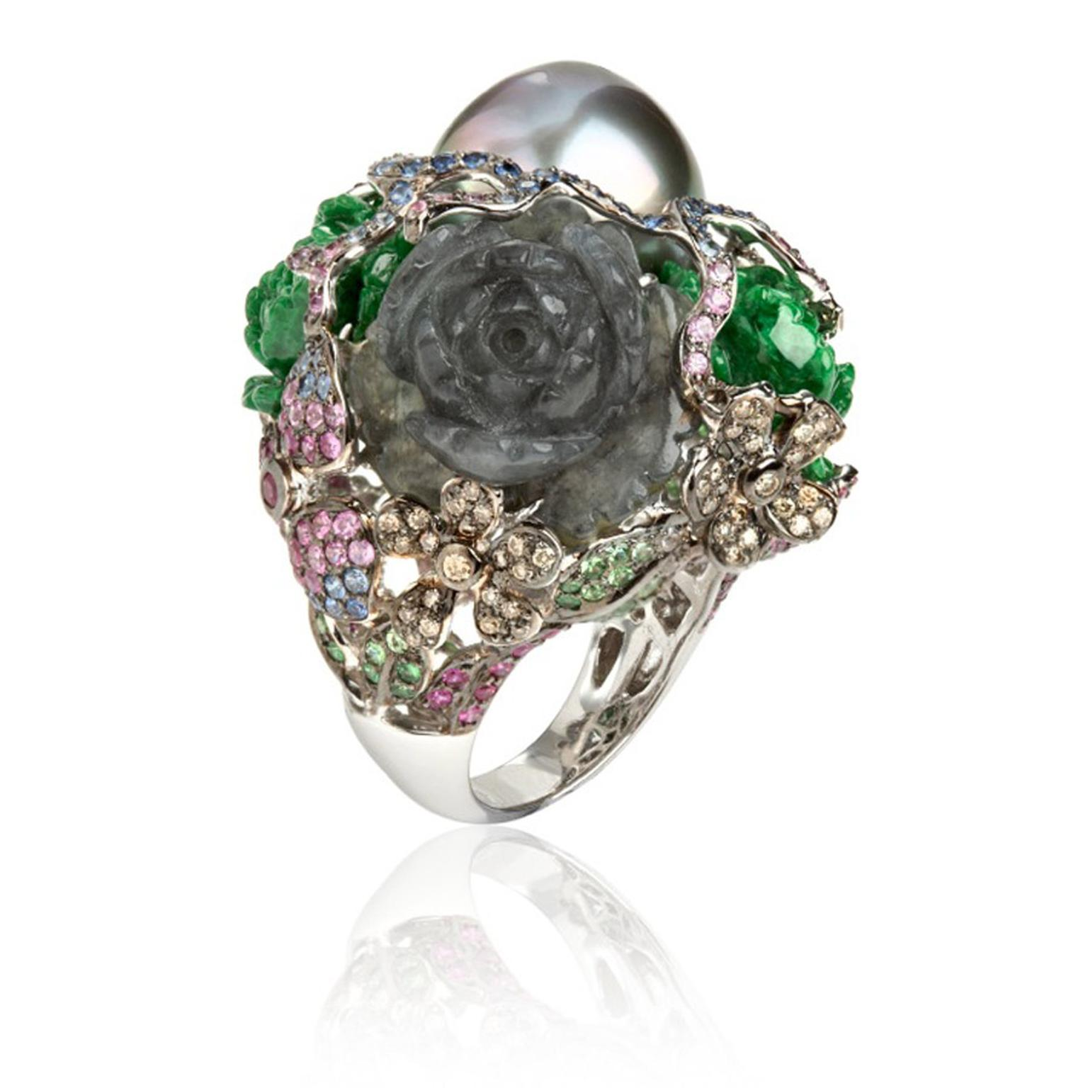 Wendy-Yue-Fantasie-18ct-white-gold-pearl--diamond-sapphires-garnetjade-and-tourmaline-Perilous-Pearl-ring-By-Wendy--Yue-for-Annoushka