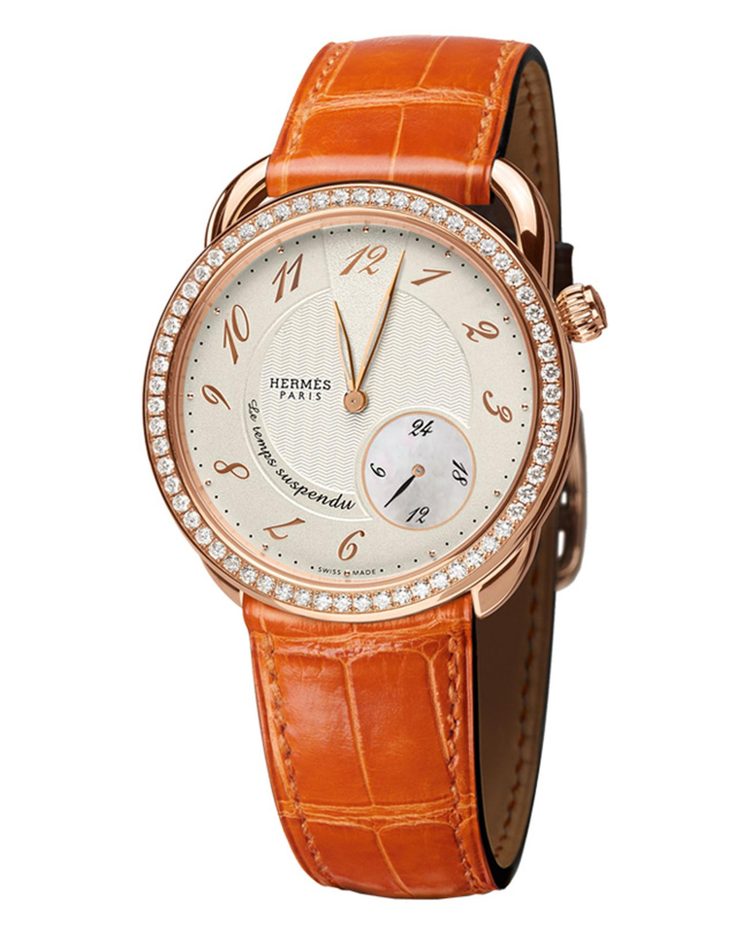 Hermes Arceau Le Temps Suspendu rose gold and diamond watch_20131031_Main