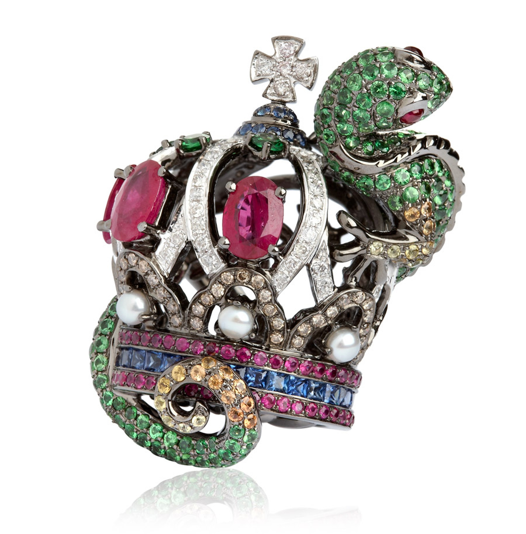 Wendy-Yue-Fantasie-Jubilee-18ct-white-gold diamond sapphire garnet-and-ruby-Lizard-ring.jpg