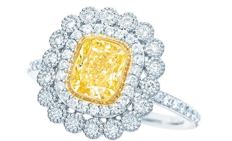 Tiffany-Enchant-yellow-and-white-diamond-rings-set-in-platinum