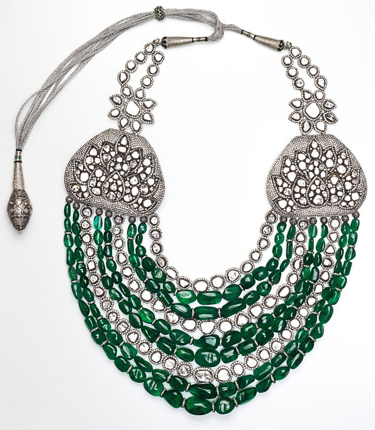 Amrapali-Emerald-and-Diamond-multi-strand-necklace