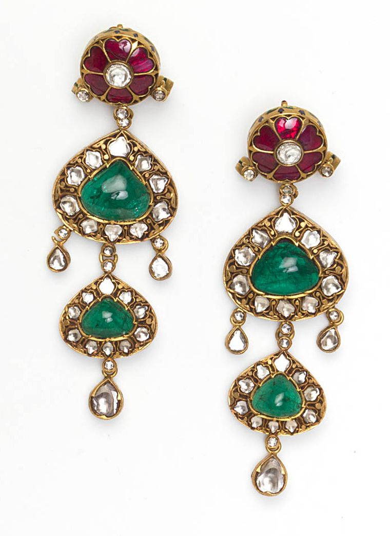 Amrapali-Emerald-Diamond-and-Ruby-earrings