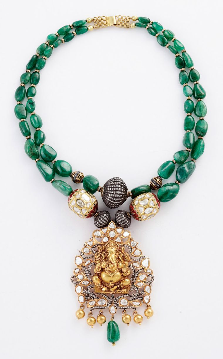 Amrapali-Emerald-necklace-with-Ganesh-pendant