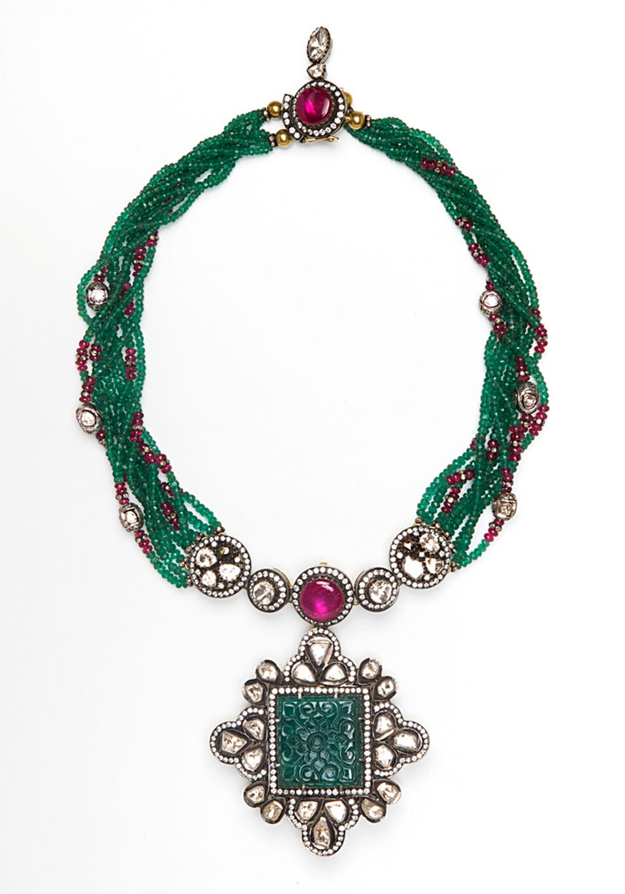 Amrapali-Multi-Strand-Emerald-and-Diamond-necklace
