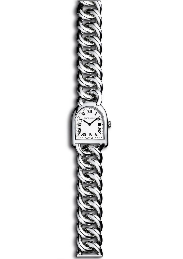 Ralph Lauren Stirrup Petite-Link in steel with an off-white face