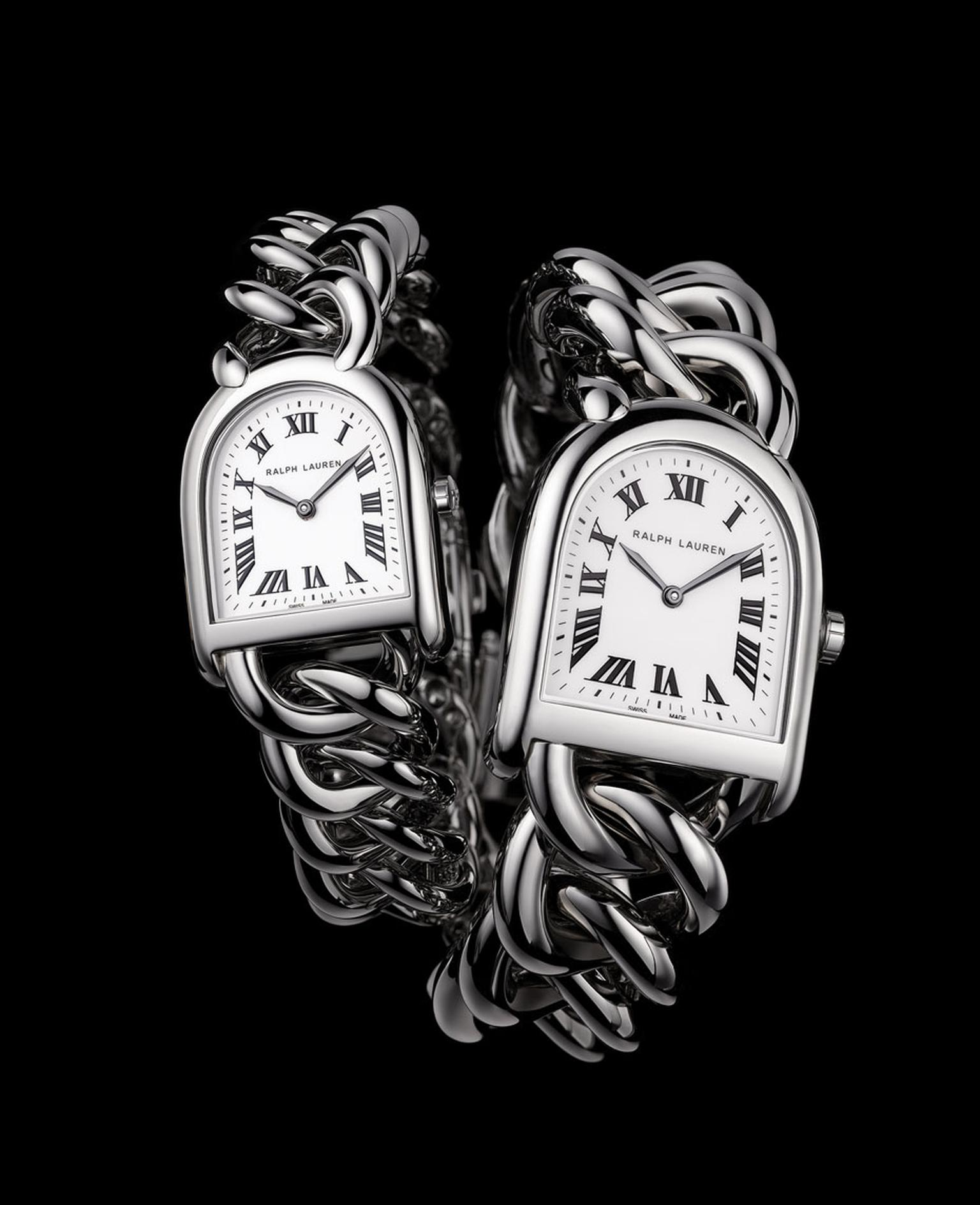 Ralph Lauren's Stirrup Petite-Link watch in steel with an off-white face, pictured alongside the larger Stirrup Small Link model