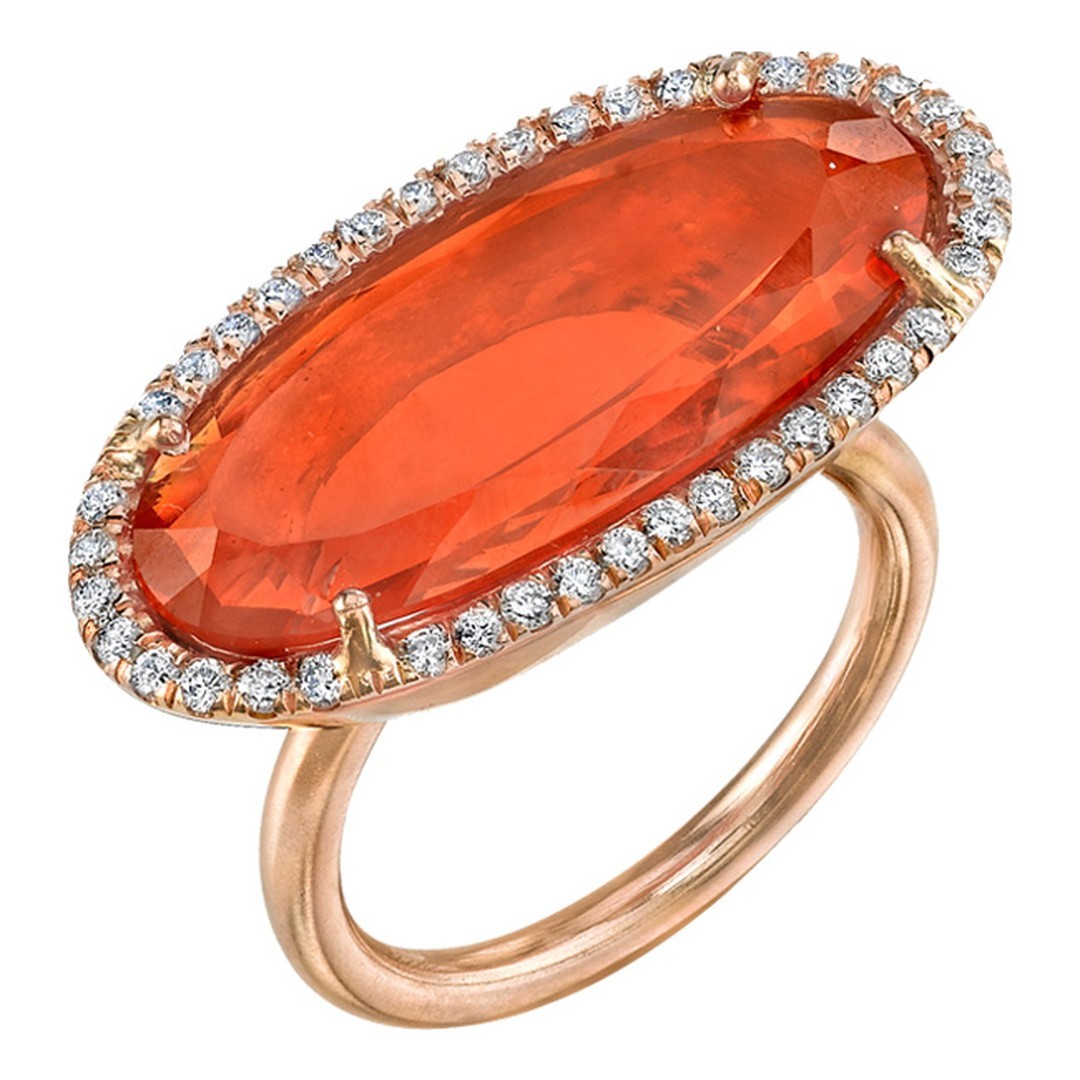 Irene Neuwirth ring in rose gold with a Mexican fire opal surrounded by diamond pave_20131227_Main