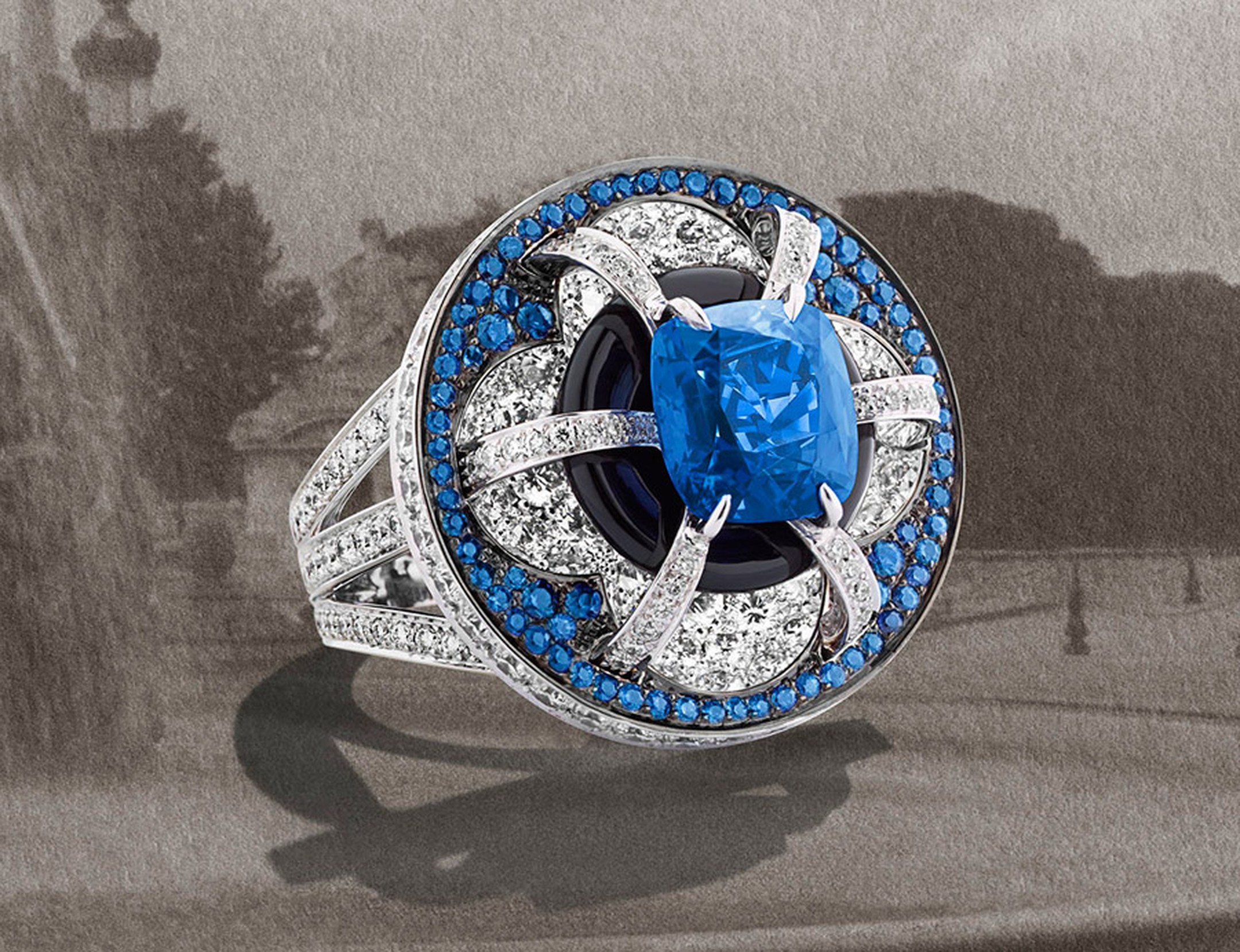 Fontaine ring by Louis Vuitton from the Escale á Paris high jewellery collection. Photograph by Coppi Barbieri for Louis Vuitton.