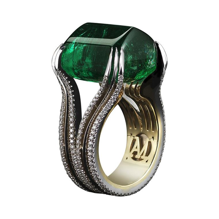 Gemfields' 26ct Zambian emerald ring by New York jewellery designer Alexandra Mor.