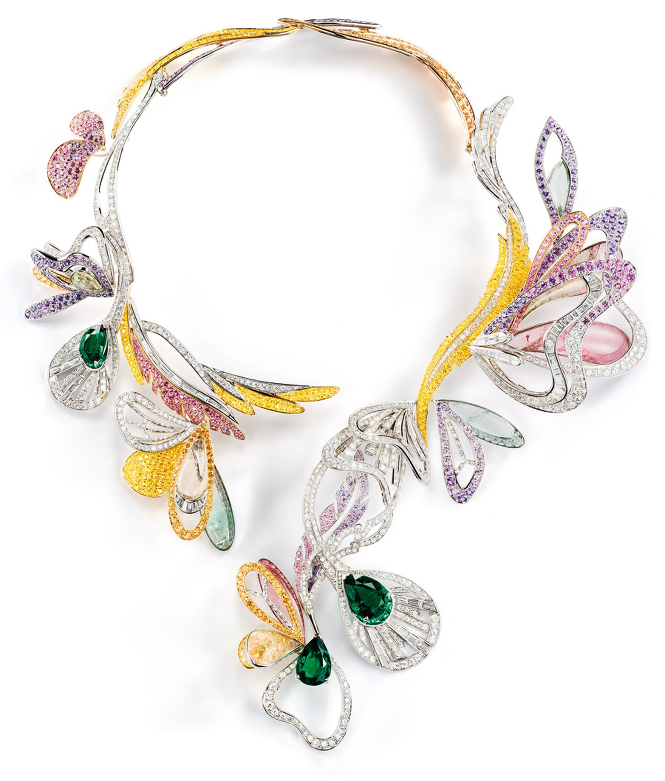 Boucheron Bouquet d'Ailes necklace set with emeralds, coloured sapphires, fine stones and diamonds