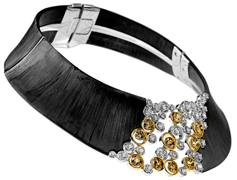 Adler-Necklace-in-carbon-in-white-and-yellow-gold-set-with-brown-diamonds-and-diamonds