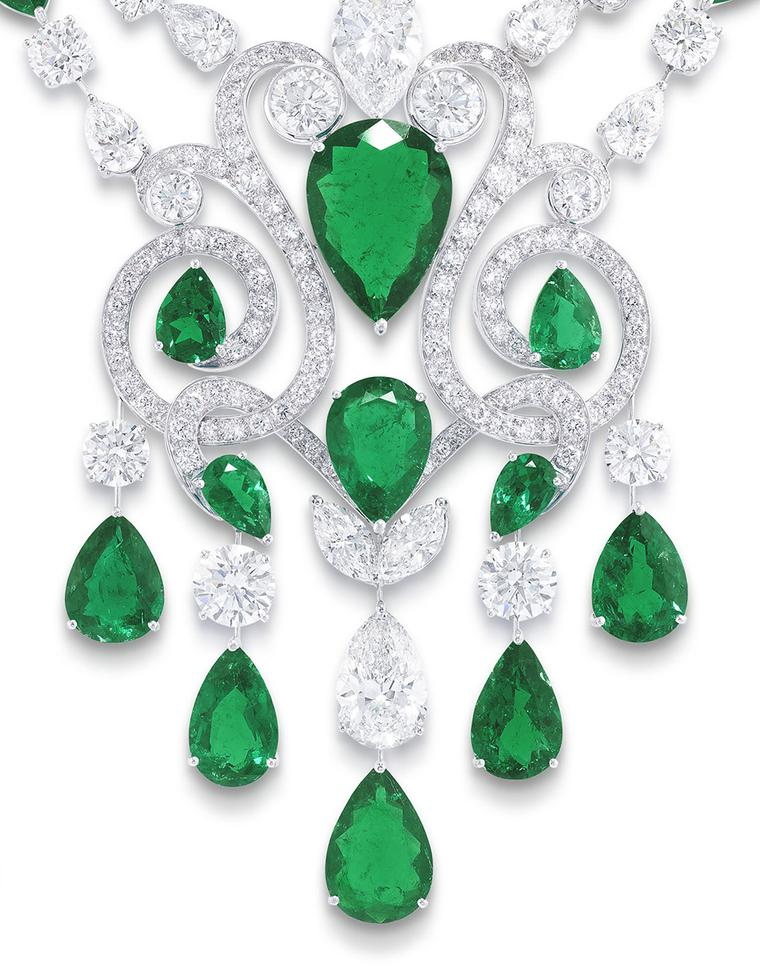 Graff-emerald and diamond Scroll necklace