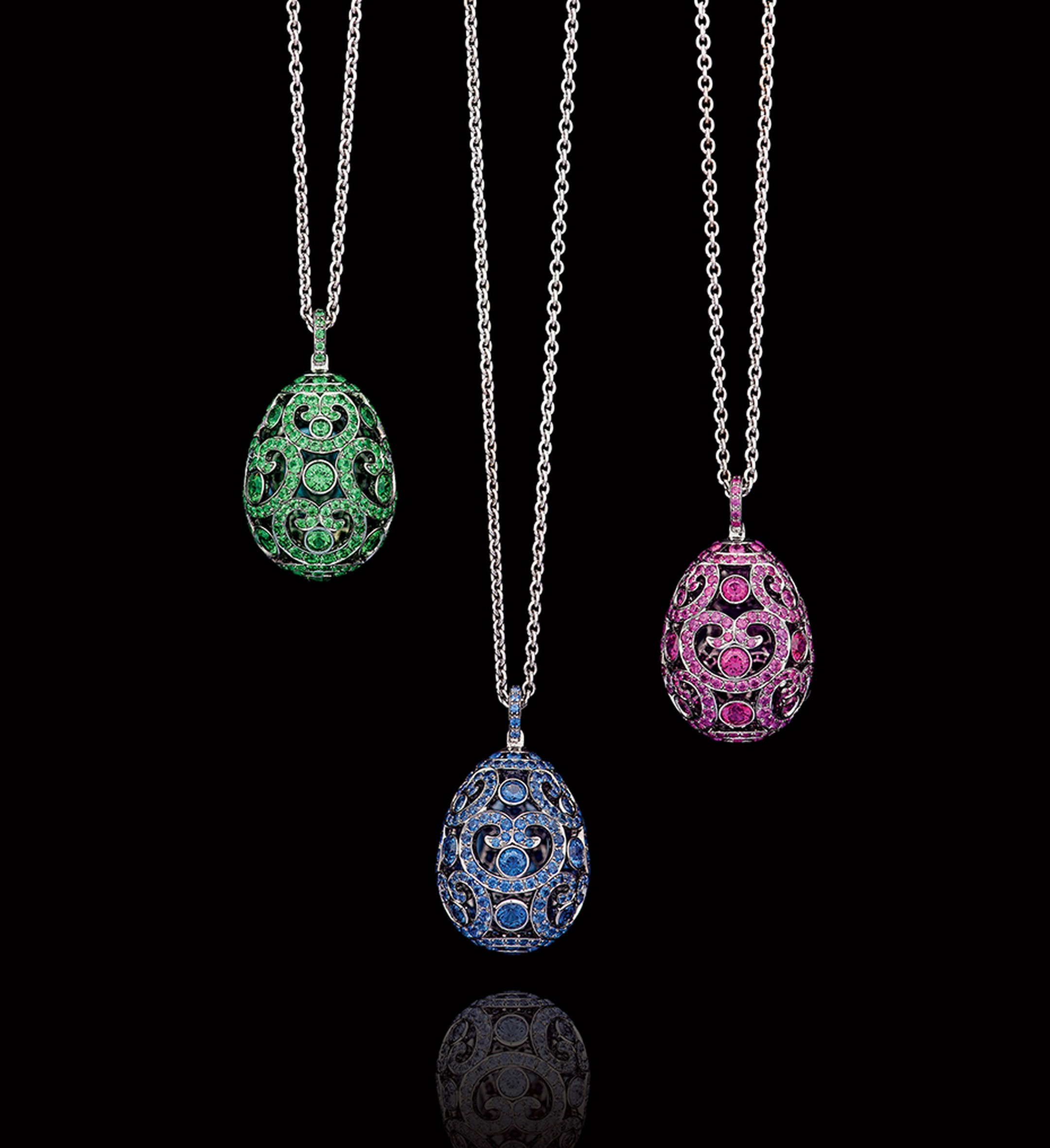 Classic Fabergé: emerald and pink and blue sapphire Egg Pendants