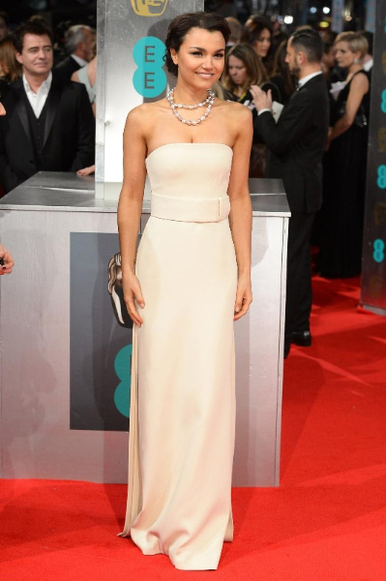Star of 'Les Miserables' Samantha Barks chose a Yoko London gold and natural coloured South Sea pearl necklace for her BAFTAs red carpet entrance