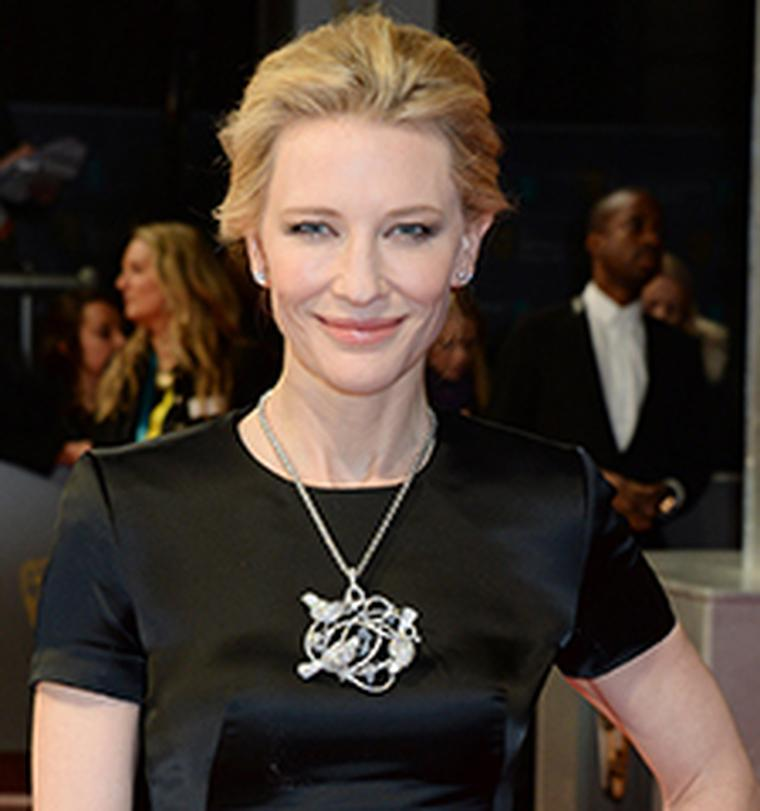 Cate Blanchett wore a Chopard necklace to collect her BAFTA in London in 2014