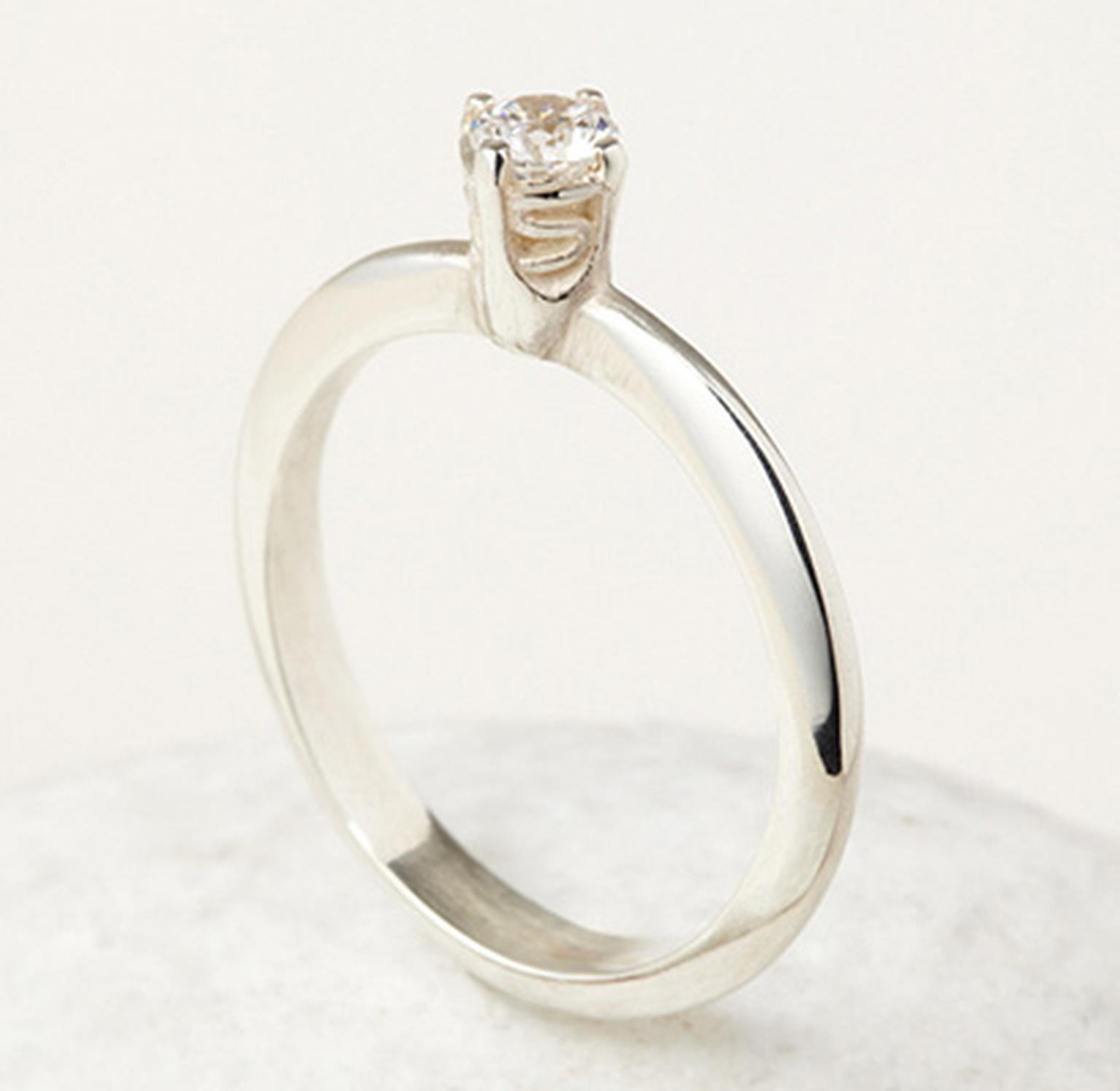 April Doubleday 4 Claw Ring with Waves (from £1,650) in 18ct Fairtrade white gold