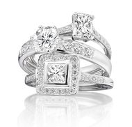 Ingle & Rhode Vintage engagement ring collection with central diamond (from £3,000) in Fairtrade white gold.