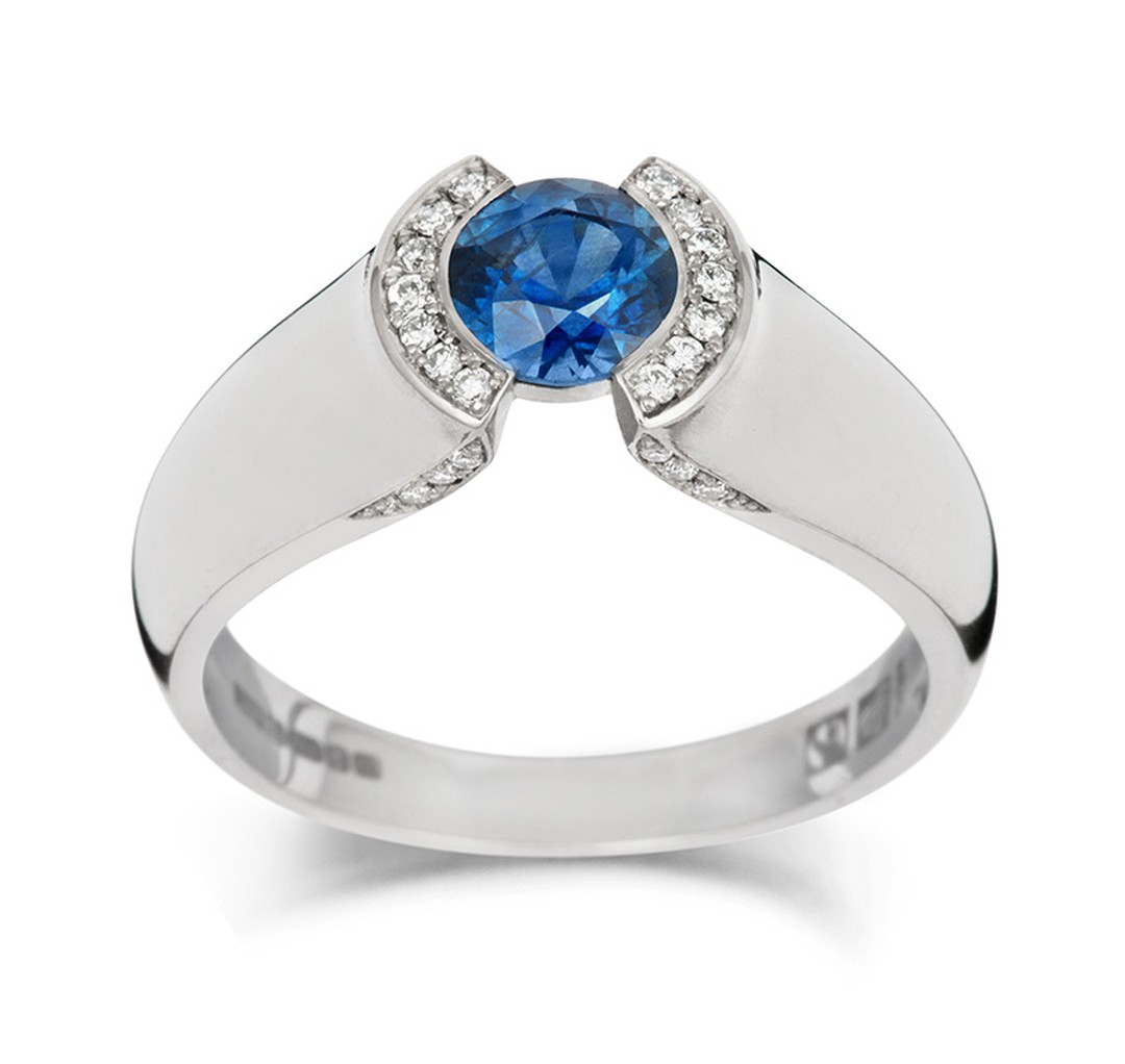 Jessica Poole Majestic Sapphire ring in Fairtrade white gold (£2,900).