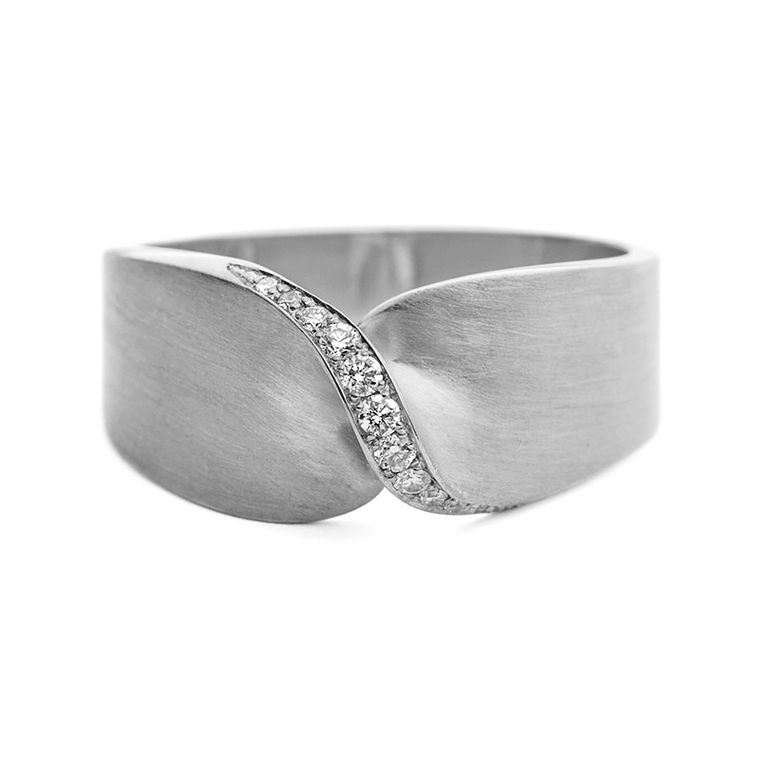 Jessica Poole Twist pave diamond ring (£1,800) in 18ct Fairtrade white gold