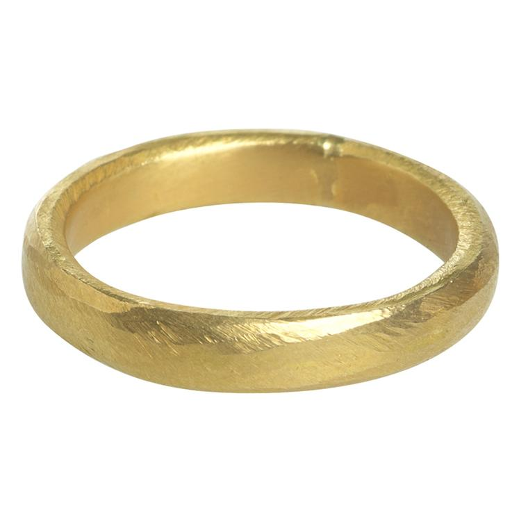 "Pippa Small ""wobbly"" wedding band in 22ct Bolivian Fairtrade yellow gold (£POA)."