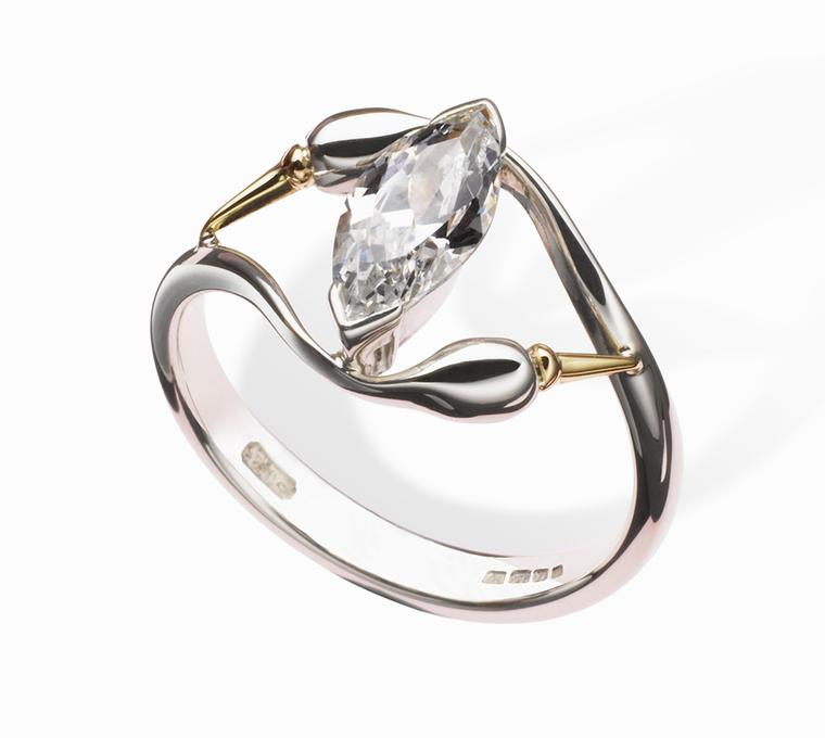 Erica Sharpe Swan ring in 18ct Fairtrade/ Fairmined gold (£1,190; stone extra)