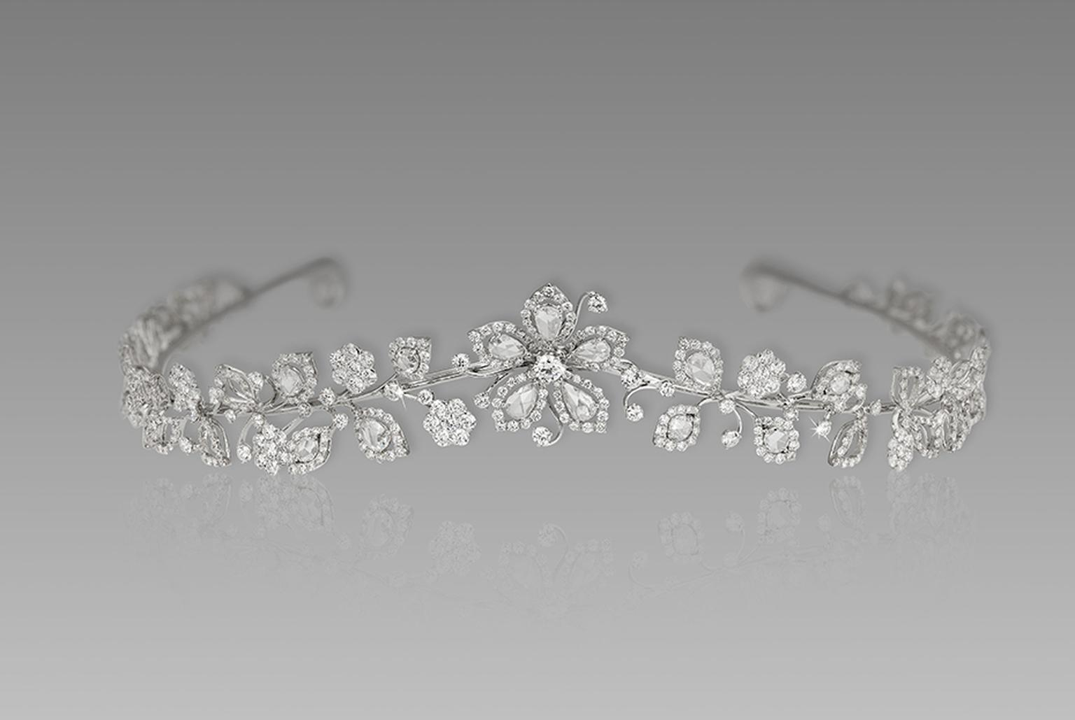 David Morris London tiara with rose-cut diamonds