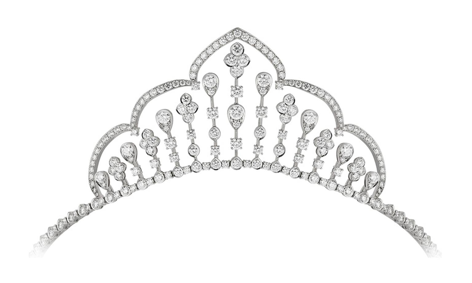Garrard Fringe tiara in white gold and diamonds. The tiara can be adjusted by hand to form a Fringe necklace